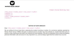 Warner Music Group data breach notice