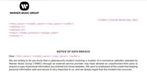 Warner Music Group data breach notice